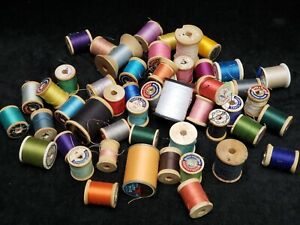 50 Vintage Sewing Thread Wooden Spools Full Partials Crafts Variety Estate Find