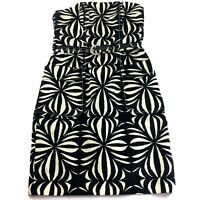 Tracy Reese Strapless Belted Black White Patterned Cocktail Dress, Size 4