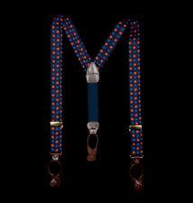 FACONNABLE Suspenders, Cobalt Blue Orange Pop Art Flowers on Midnight Silk