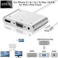 Lightning to HDMI VGA AV Audio video Adapter Cable For iPhone X/Xr/Xs/8/7/6 iPad
