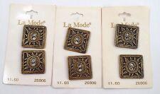 """6 NOS 1980s La Mode Antique Gold Southwest Sun Square 1 1/4"""" Metal Buttons"""