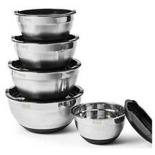 Stainless Steel Mixing Bowls Set of 5 W/ Lids, Non Slip Silicone Base, BovadoUSA