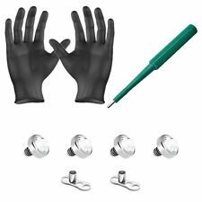 Dermal Anchors Piercing Kit Clear 4mm Top Gems Dermal Bases Puncher and Gloves
