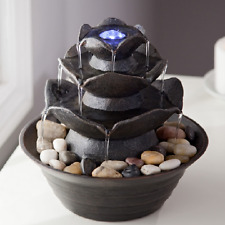Indoor Water Fountain Stone LED Light Tabletop Cascade Waterfall Decoration Zen