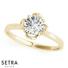 Diamond Flower Style 14k Fine Gold Solitaire Ring