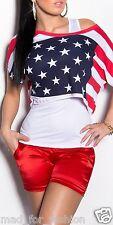 sexy surdimensionné haut en imprimé drapeau américain + débardeur haut. UK 8/10