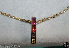 Ross Simons 18k yellow gold Sterling silver Multi gemstone Pendant necklace