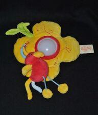Peluche doudou fleur jaune lumineuse BABY NAT' oiseau rouge attache scratché