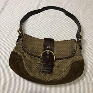 Vintage Coach Classic Monogram Handbag Brown Suede Gold Hardware