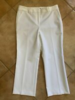 "TALBOTS Womens Flat Front Cotton Bi-stretch ""Hampshire"" Pants-White Sz 8"