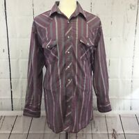 Wrangler Mens Western Shirt 17-1/2 X36 Tall Purple Stripe Pearl Snap Long Sleeve