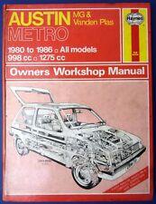 Haynes Owners Workshop Manual Austin MG & VP Metro 1980 -1986 998/1275 (1712)