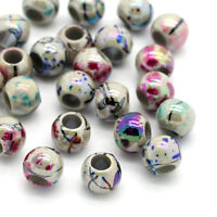500 Mix Rund Blumen Acryl Spacer Perlen Beads Großlochperlen 8mm on