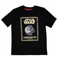 ADIDAS ORIGINALS STAR WARS KiNDER T-SHIRT TODESSTERN TEE SCHWARZ GOLD 74-176