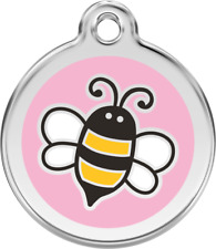 Bumble Bee Pink Enamel/Solid Stainless Steel Engraved ID Dog/Cat Tag