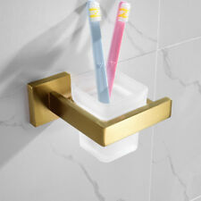 Bathroom Wall mounted Stainless Tumbler Toothbrush Cup Holder Set Brushed Gold