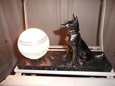 French Art Deco  table lamp   with dog frost glass shade marble base