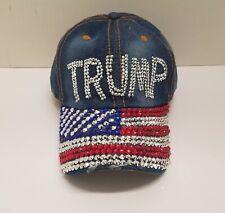 Ladies TRUMP Red, White & Blue American Flag Rhinestone BLING Denim Hat
