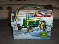 JOHN DEERE COLLECTIBLE 2007 MINI TIN LUNCH BOX WINTER FARM SCENE EDWARD  SCHAFER