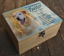 Wooden Pet Urn Dog Box Cremation Ashes Casket & headstone tile Golden retriever