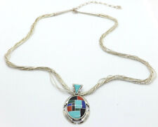 Carolyn Pollack Sterling Silver Multi-Stone Inlay Pendant Liquid Silver Necklace