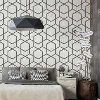 GEOMETRIC Reusable PLASTIC Wall STENCIL Template 65x95cm Seamless Allover LINES