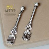 Boucles d`Oreilles Clips Argenté Art Deco Long Carré Cristal Mariage Retro J8