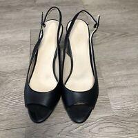 Cole Haan Women's Maya Sling Back Pump, Black Leather, Size 8.5
