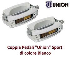 """0235 - Coppia Pedali """"Union"""" Vintage Sport Bianchi per Bici 20-24-26 Pieghevole"""