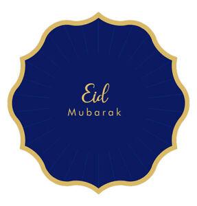 Eid Mubarak Disposable Paper Plates Blue & Gold - Set of 8