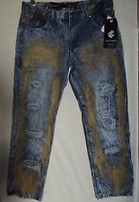 Mens ROCAWEAR 40 X 30 INDIGO TIMBER JEANS ALLOVER Painted Dirty Muddy DISTRESSED