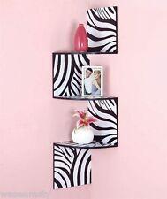 Wild Animal Print Zebra Corner Wall Zig Zag Wooden Shelf Display Accent Decor