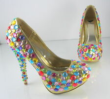 "new ladies Gold Gems 5""High Heel 1.5""Platform Round Toe Shoes Size 5.5"