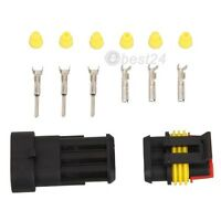 5 Kit 3 Pin Way Waterproof Electrical Wire Connector Plug