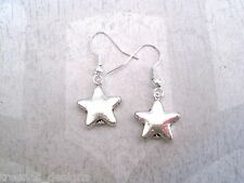 CHUNKY SMALL SILVER STAR SP Tibetan Silver SP Drop Earrings Gift Bag CUTE NEW