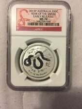 2013 Australia Silver Lunar 'Year of the Snake' (1/2 oz) 50C - NGC MS70