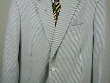 JOS.A BANK Suit Seersucker Blue White Stripe Two Button All Cotton 46 Reg.