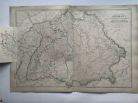 1872 South Germany & Alsace Lorraine Hand Coloured Antique Map By W.G. Blackie