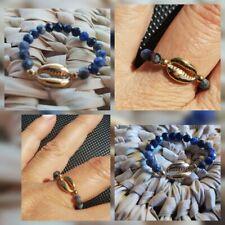 Bague Perles naturelles Multifacettes coquillages cauris Plaque Or Réglable new