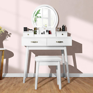 VIVOHOME Vanity Set with 3-Color Dimmable Lighted Mirror, Makeup Dressing Table