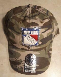 NEW YORK RANGERS Womens Hat Camouflage Cap Sequin Logo Adjustable Camo 47 Brand