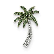 14k White Gold with White and Green Diamond Palm Tree Pendant