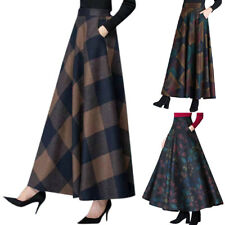 Ladies Plus Size High Waisted Winter Casual Plaid Printed  A Line Maxi Skirts