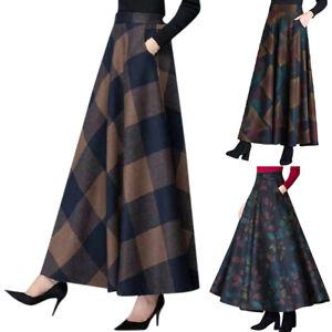 Plus Size Womens Plaid High Waist A-Line Long Skirts Casual Winter Maxi Dress