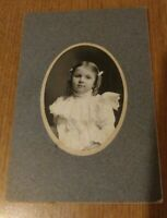 Vintage Old Picture of Young Girl Pigtails Fancy Dress Oval Photo Cardboard