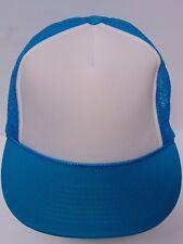 Vtg 1990s RETRO HIPSTER SNAPBACK HAT WHITE FRONT PANEL Teal Mesh TRUCKER CAP