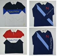 NWT Men's Nautica Long-Sleeve Rugby Polo Shirt  M L XL XXL 3XL