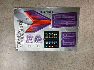 Vintage G1 Transformers Original Unused Decal Sticker Sheet 1987 CYCLONUS