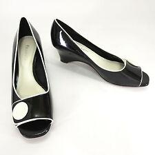 Etienne Aigner Shoes 8.5 Acton Black Patent White Button Peep Toe Wedge Slip On