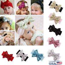 Kids Newborn Baby Girl Infant Toddler 8pcs Sequins Bow Bling Sparkly HeadBand